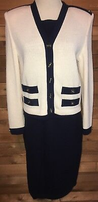 St John Collection by Marie Gray Womens Navy Blue Cardigan Sweater Skirt 6 P Euc