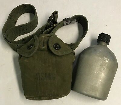 Original 1952 Dated USMC Canteen,Cup And Cover Set With M56 Pistol Belt