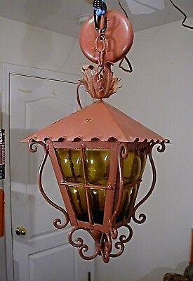 SPANISH REVIVAL HANGING PORCH LIGHT WROUGHT IRON w/BLOWN 'BUBBLE' AMBER GLASS