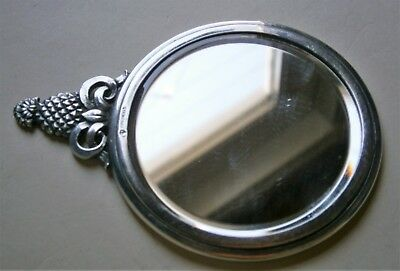Vintage Sterling Silver Ladies Purse Mirror with Fancy Handle