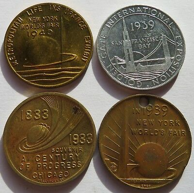 1939/1940 NY World's Fair, 1933 Chicago, 1939 Golden Gate Expo, 4 Medals (071934