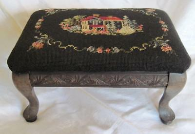 Vintage Wooden Needle Point Foot Stool