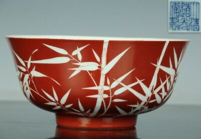 Dec026 Chnese Qing Porcelain Red Glaze Bamboo Hand Painted Bowl W/marked