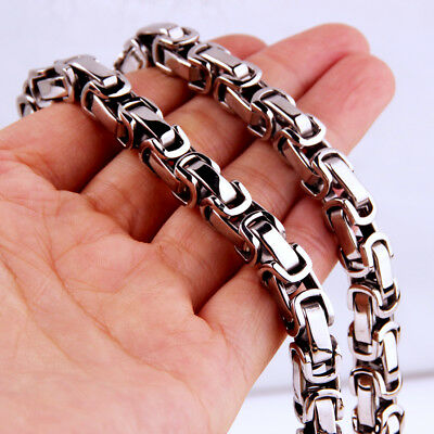 Heavy 8mm Stainless Steel Silver Byzantine Box Chain Men's Necklace Jewelry 22""