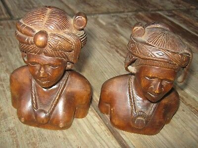 2 pc Vintage Hand Crafted Hand Carved Wood Man and Woman Head Statue Figurine