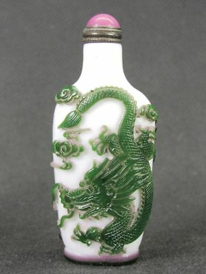 Chinese Two Dragon Carved Peking Overlay Glass Snuff Bottle