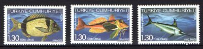 Turkey 2011 Fish Set 3 MNH