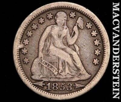 1853 Seated Liberty Dime-Fine/very Fine!! Scarce Better Date!!  #c1360