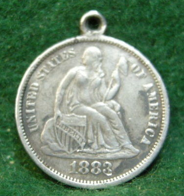 Antique USA Coin Love Token Charm 1883 Liberty Seated Dime. Engraved:ALBERT. NoR