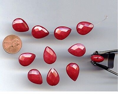 12 VINTAGE GENUINE RED AGATE 18x13mm. FACETED TEAR DROP BEADS 2313