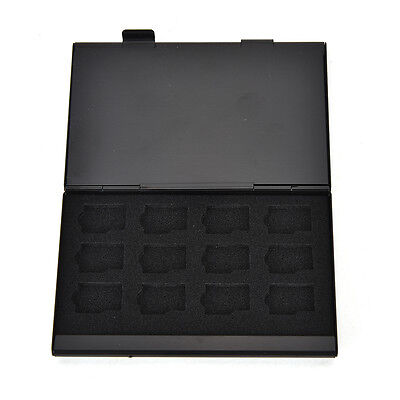 Black Aluminum Memory Card Storage Case Box Holder For 24 TF Micro SD Cards-BLA