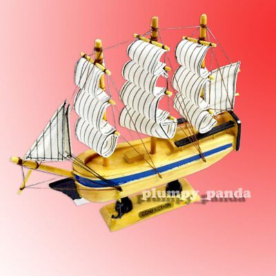 """8"""" Wooden Color Hull Handcrafted Sailboat Merchant Ship Model Nautical Decor"""