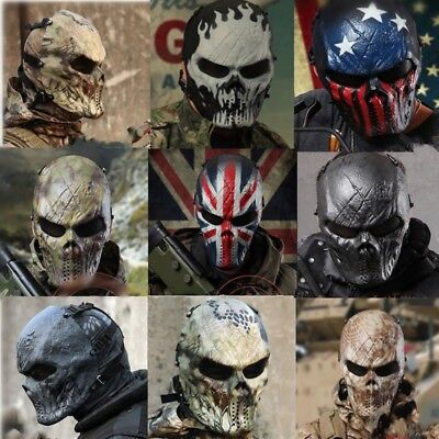 Airsoft Paintball Full Face Schädel Skelett CS Krieger Maske Militär Cosplay DE