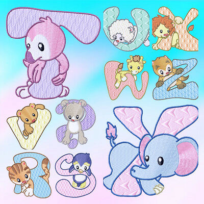 Baby Zoo Alphabet and Numbers (40 Designs) MACHINE EMBROIDERY DESIGNS CD 3 SIZES