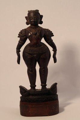 India 19th Rosewood temple doll sculpture of Lakshmi