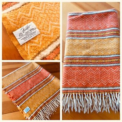 Vintage Faribo Wool Throw Lap Blanket Southwestern Orange Brown Cream W/ Fringe