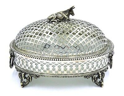 Continental Victorian Silver Plate & Opaline Butter Dish w/ Cow Finial