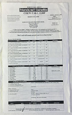 2010 NBC tv show FRIENDS WITH BENEFITS set used CALL SHEET~Season 1, Episode 5