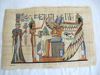 """Egyptian Papyrus Paper Painting Winged Isis Pharaoh Deisgn 25""""X17"""""""