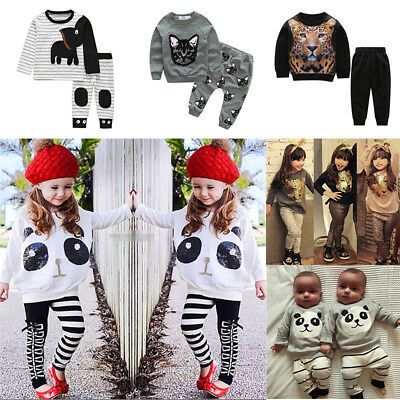 Newborn Kids Baby Boys Girls Animal Tops T-shirt Long Pants Outfit Clothes