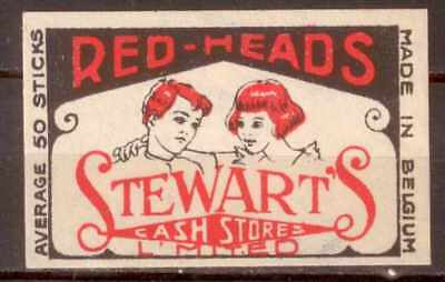 Reklamemarke:Red-Heads,Stewart's Cash Store,Made in Belgium (Paar m.rote Haaren)