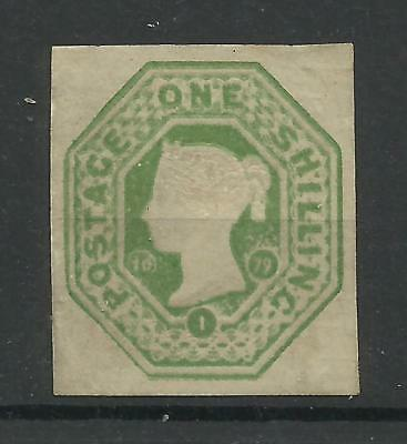 1879, 1/- Green Embossed Postal Cut Out, Cut Square, LM/Mint, 10/1/1879.