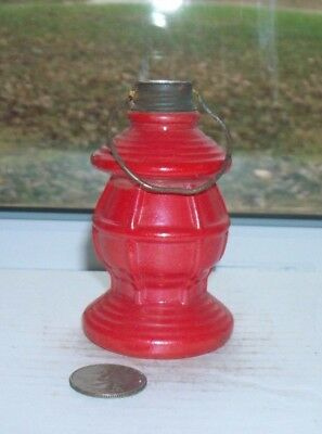 Very Nice Vintage Toy Lantern Candy Container With Lid & Original Red Paint