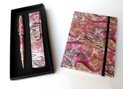 Ladies Pen & Journal Set-PINK REFILLABLE with CRYSTALS & MATCHING POUCH in a BOX