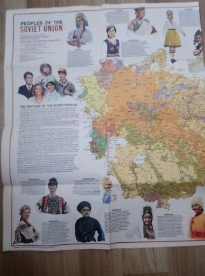 1976 National Geographic Map People Of The Soviet Union
