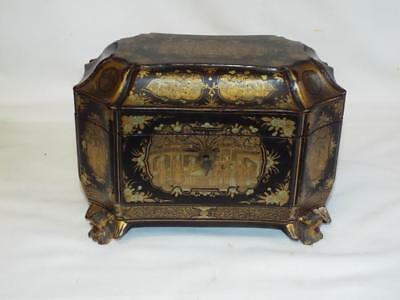 Superb antique Chinese lacquered tea caddy box with pewter cannisters.