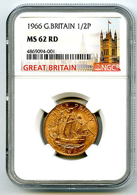 1966 Great Britain 1/2 P Half Penny Ngc Ms62 Rd Golden Hind Design Halfpenny