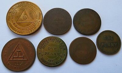7 Masonic Coins, 1871 Worcester MA, 1903 Brownville ME +, Penny Token Medal(0801
