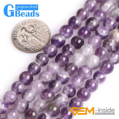 """Natural Round Gemstone Dream Lace Amethyst Beads For Jewelry Making Strand 15"""""""