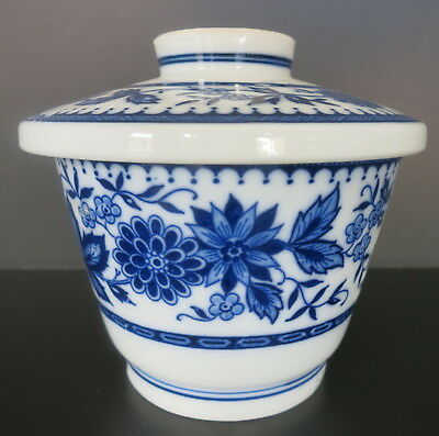 Vintage Blue & White Asian Bowl Dish Cup W/ Lid