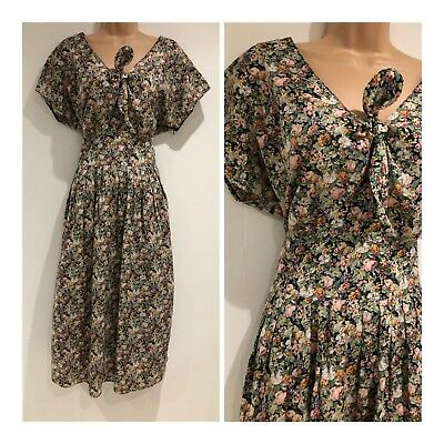 Vintage 80's Green & Pink Floral Tie Front Button Back Pretty Midi Day Dress 12