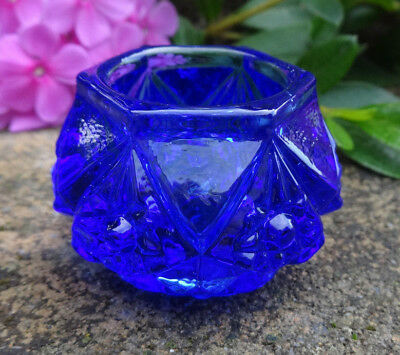Cobalt Blue Glass KNOB Open Salt Dip, Cellar, Dish!