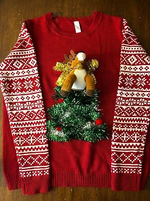 c5ce04b91f No Boundaries Ugly Christmas Sweater Red Reindeer Christmas Tree Tinsel  Bell XXL