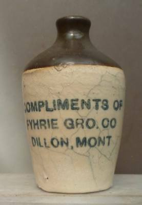 MONTANA MINIATURE POTTERY JUG-Comp. Of Fyhrie Grocery Co.-Dillon-1890s