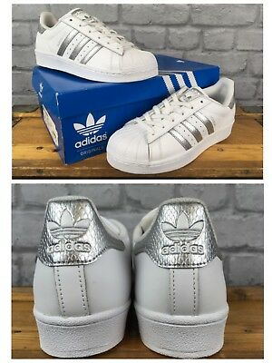 new concept ec5aa b0683 Adidas Superstar Uk 4 Eu36 2 3 Shelltoe Silver Snake Skin White Leather  Trainers