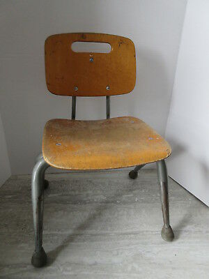 Old Mid Century Modern Eames Era Bent Plywood & Steel Childs Chair Brunswick