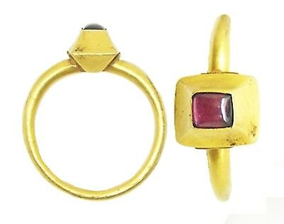 Fabulous Medieval Gold & Ruby Finger Ring c.13th - 14th century A.D Size 9 1/4