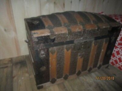 Antique Trunk with Great Tinwork and details - domed top