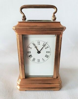 Carriage Clock Miniature Clock Antique Brass Double Sided Key 9cms High