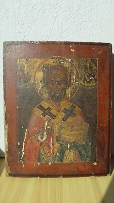 Ikone,Icona,Antique Russian Orthodox icon ,,St.Nicholas,, from 19c.