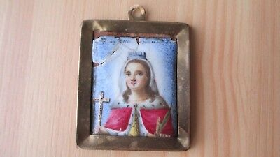Antique Russian Orthodox icon enamel painting finift  19c.