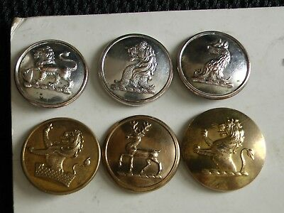 DEALER'S JOB LOT 6 MIXED 1pc 19th Century LIVERY COAT BUTTONS Lion Griffin Stag