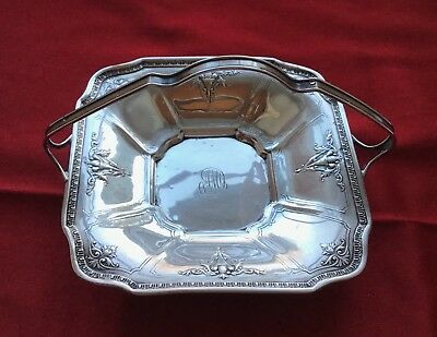 Antique Webster Co Sterling Silver Candy Dish/Nut Basket Repousse Design, Handle