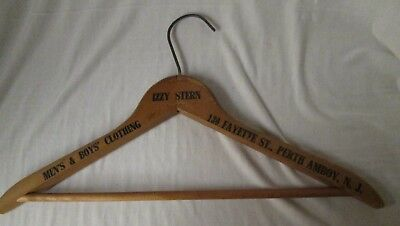 vtg advertising wood clothes hanger IZZY STERN Clothing, Perth Amboy, New Jersey