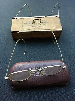 TWO Vintage Pairs of Glasses/Spectacles With Original Case/Box from USA