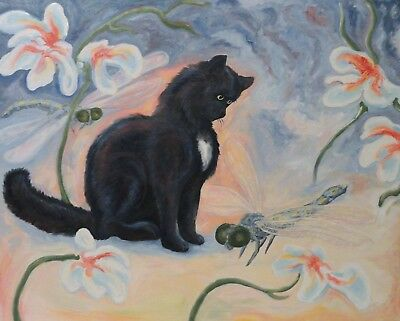 "Expressionist Contemporary Art Oil Painting ""Cat Dreams"" by Twain Tipton"
